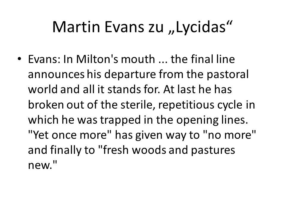 """Martin Evans zu """"Lycidas"""