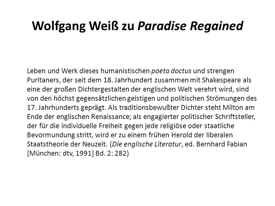 Wolfgang Weiß zu Paradise Regained