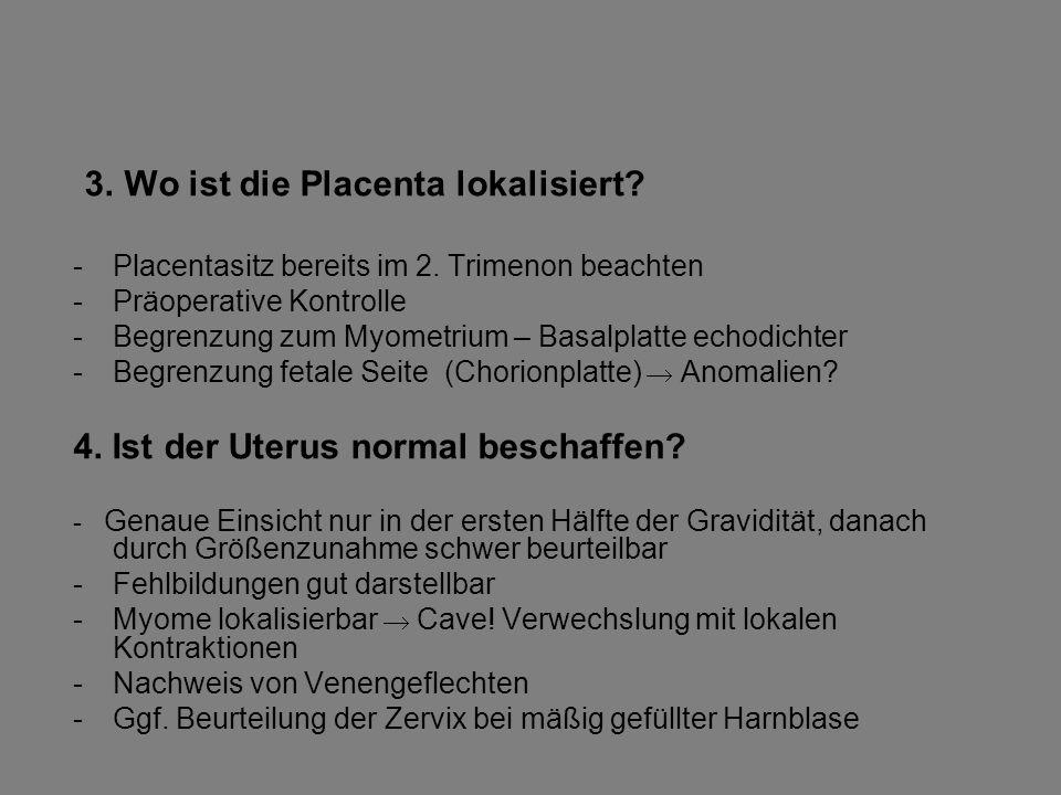 3. Wo ist die Placenta lokalisiert