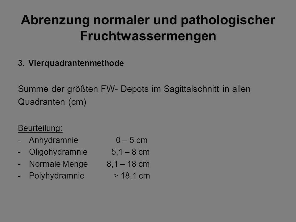 Abrenzung normaler und pathologischer Fruchtwassermengen