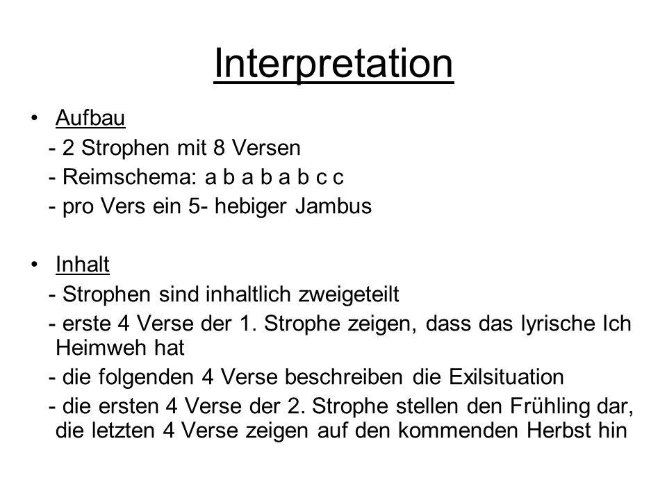Interpretation Aufbau - 2 Strophen mit 8 Versen