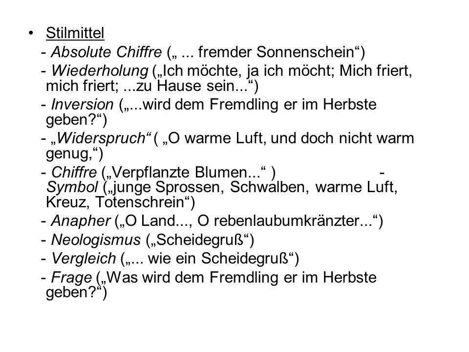 """Stilmittel- Absolute Chiffre ("""" ... fremder Sonnenschein )"""