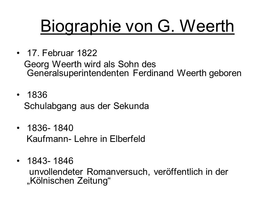 Biographie von G. Weerth