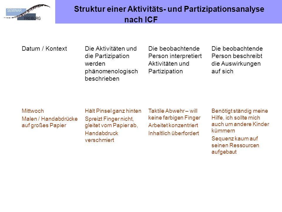 Struktur einer Aktivitäts- und Partizipationsanalyse