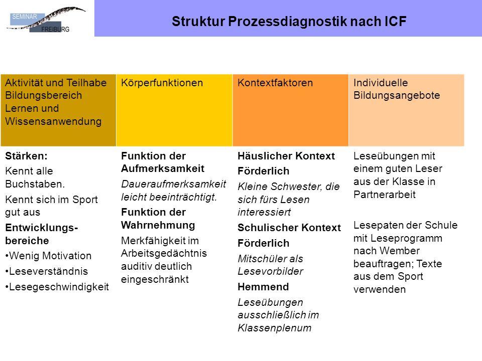 Struktur Prozessdiagnostik nach ICF