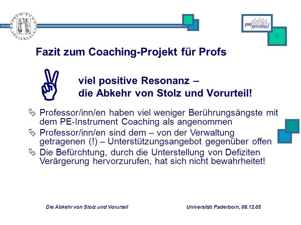 Fazit zum Coaching-Projekt für Profs