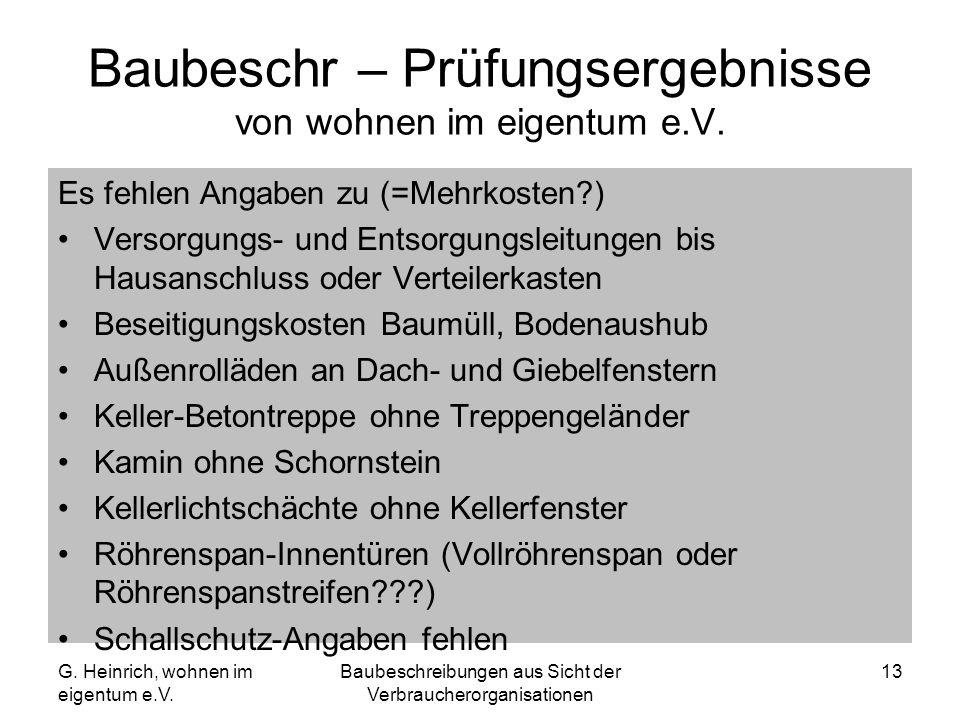 Baubeschr – Prüfungsergebnisse von wohnen im eigentum e.V.