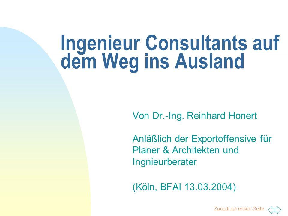 Ingenieur Consultants auf dem Weg ins Ausland