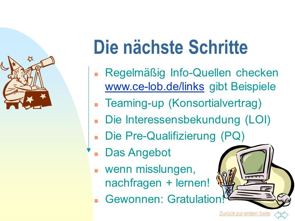 Die nächste Schritte Regelmäßig Info-Quellen checken www.ce-lob.de/links gibt Beispiele. Teaming-up (Konsortialvertrag)