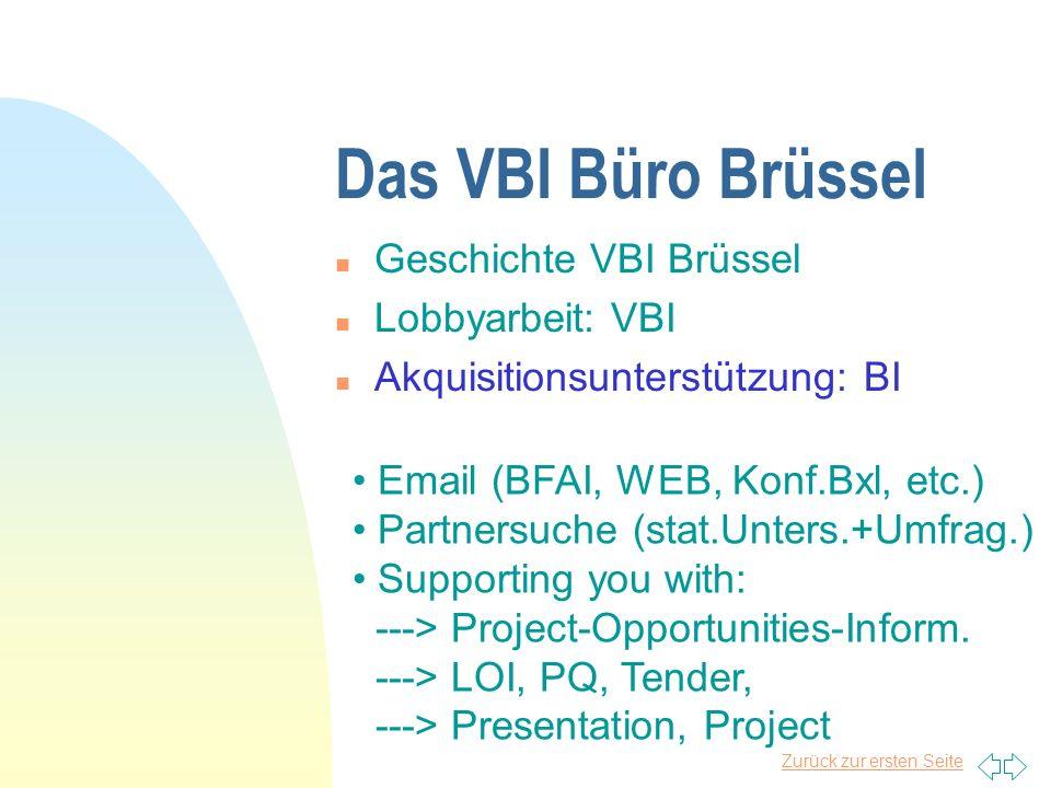 Das VBI Büro Brüssel Geschichte VBI Brüssel Lobbyarbeit: VBI