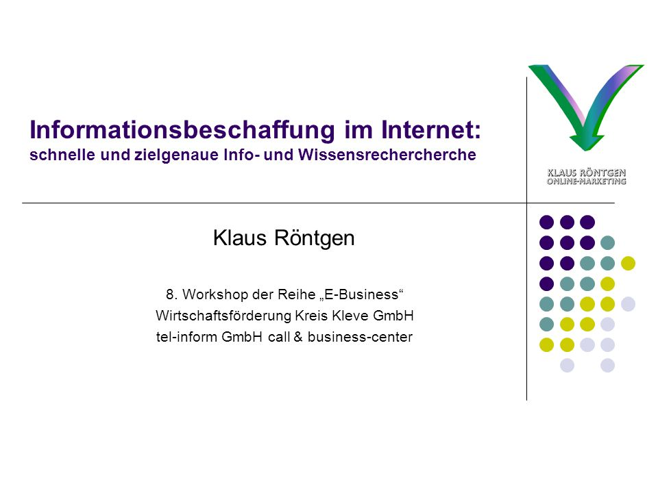 Informationsbeschaffung im Internet: schnelle und zielgenaue Info- und Wissensrechercherche