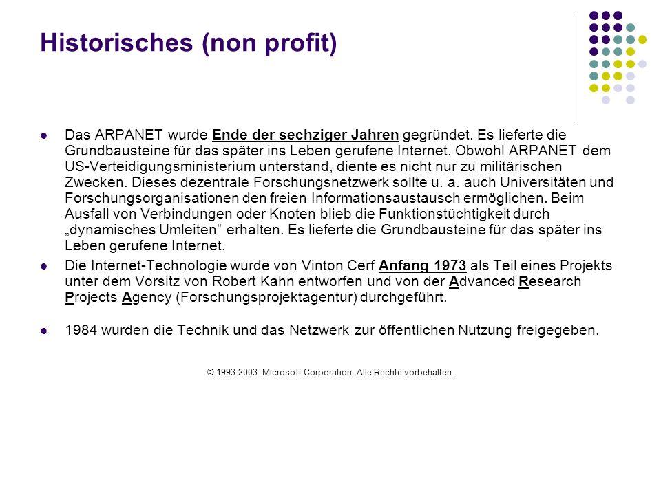 Historisches (non profit)