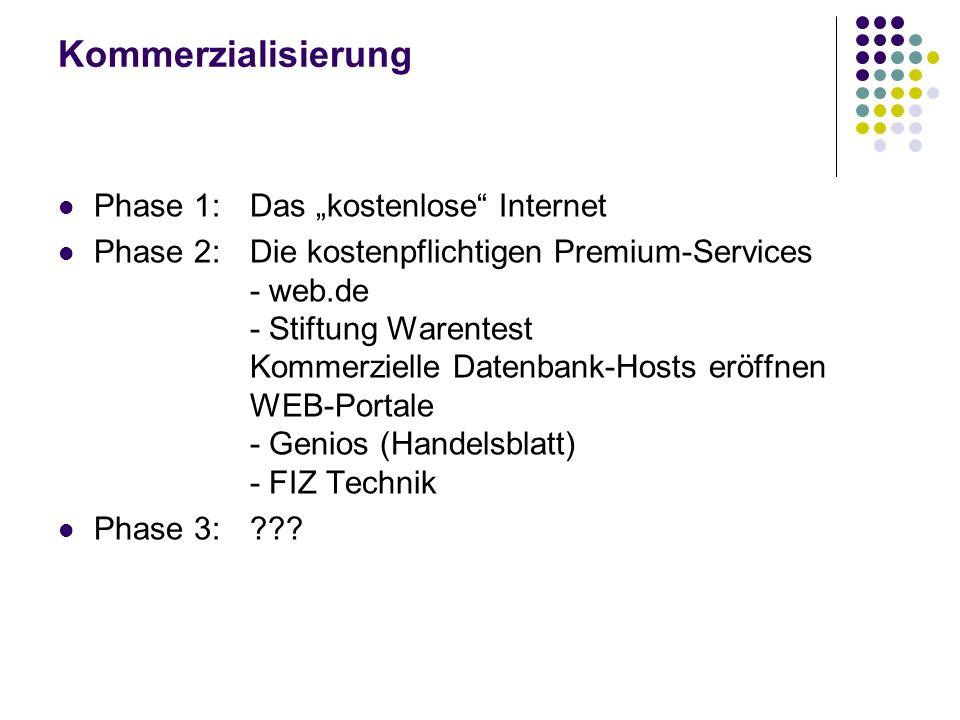 """Kommerzialisierung Phase 1: Das """"kostenlose Internet"""