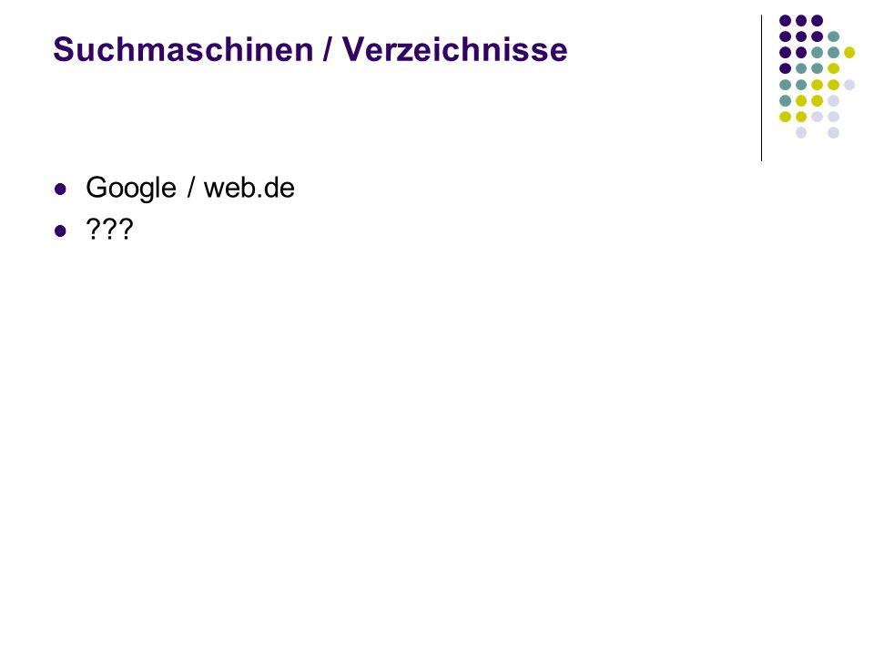 Suchmaschinen / Verzeichnisse