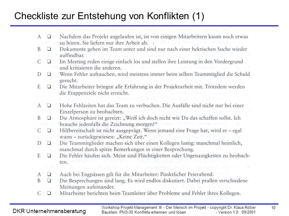 Checkliste zur Entstehung von Konflikten (1)