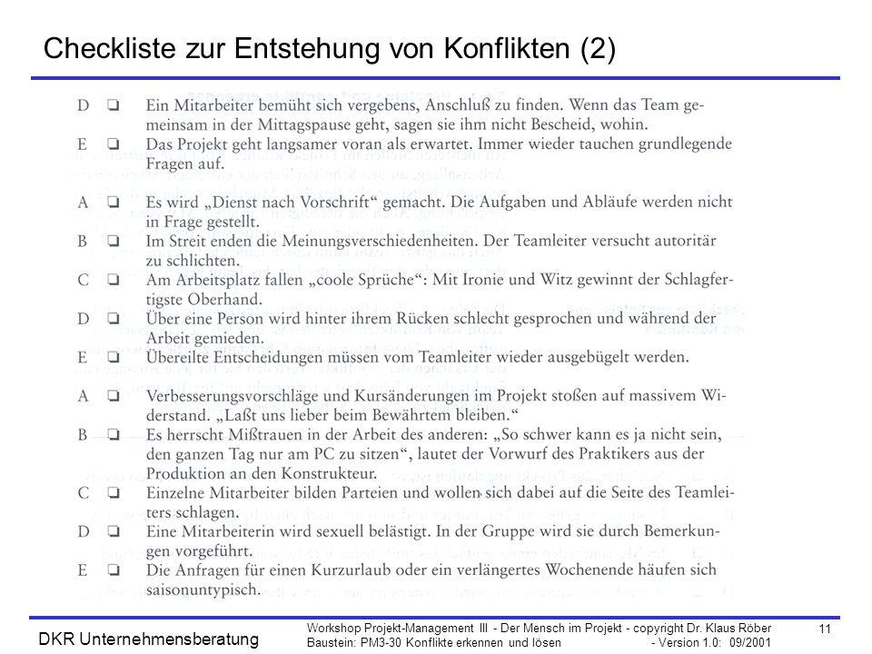 Checkliste zur Entstehung von Konflikten (2)