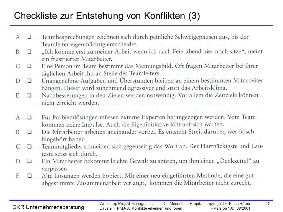 Checkliste zur Entstehung von Konflikten (3)