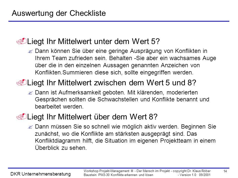 Auswertung der Checkliste
