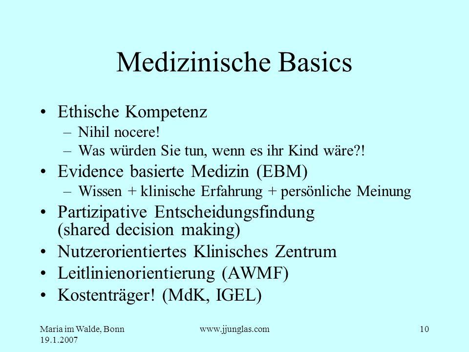 Medizinische Basics Ethische Kompetenz Evidence basierte Medizin (EBM)