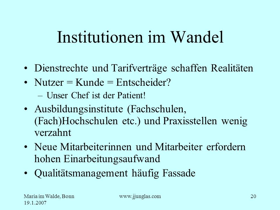 Institutionen im Wandel