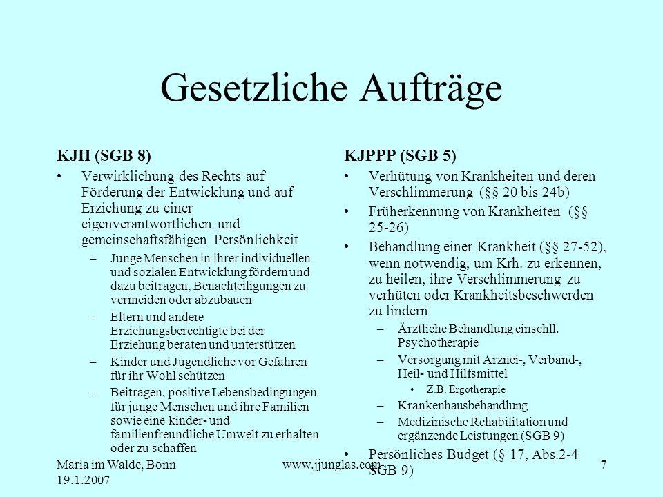 Gesetzliche Aufträge KJH (SGB 8) KJPPP (SGB 5)