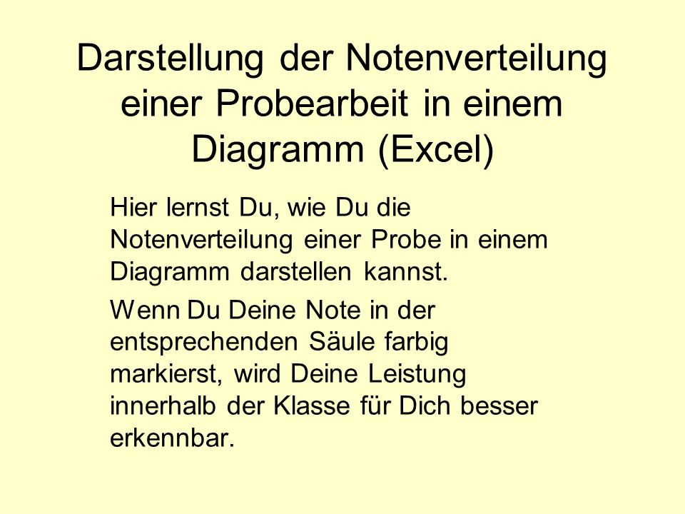 Darstellung der Notenverteilung einer Probearbeit in einem Diagramm (Excel)