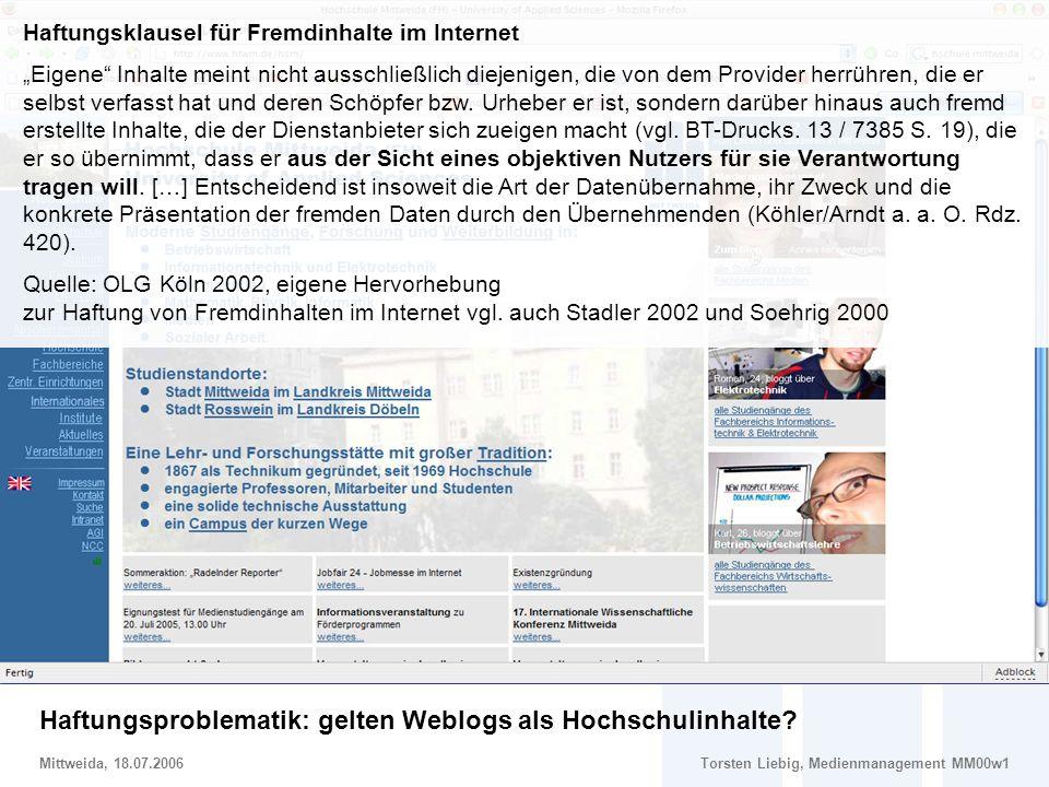 Haftungsklausel für Fremdinhalte im Internet