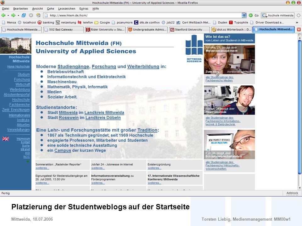 Gestaltungsvorschlag: Einbindung von Studentenweblogs auf der Hochschulstartseite