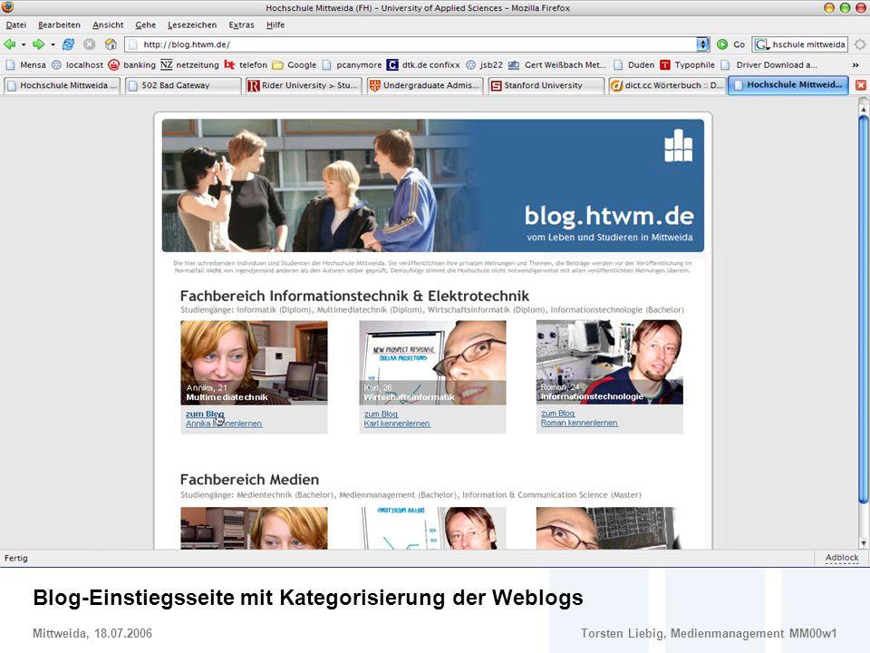 Gestaltungsvorschlag: Blog-Einstiegsseite