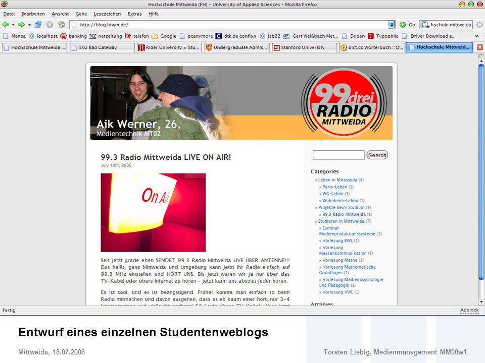 Entwurf eines einzelnen Studentenweblogs