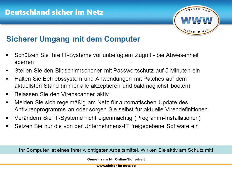 Sicherer Umgang mit dem Computer