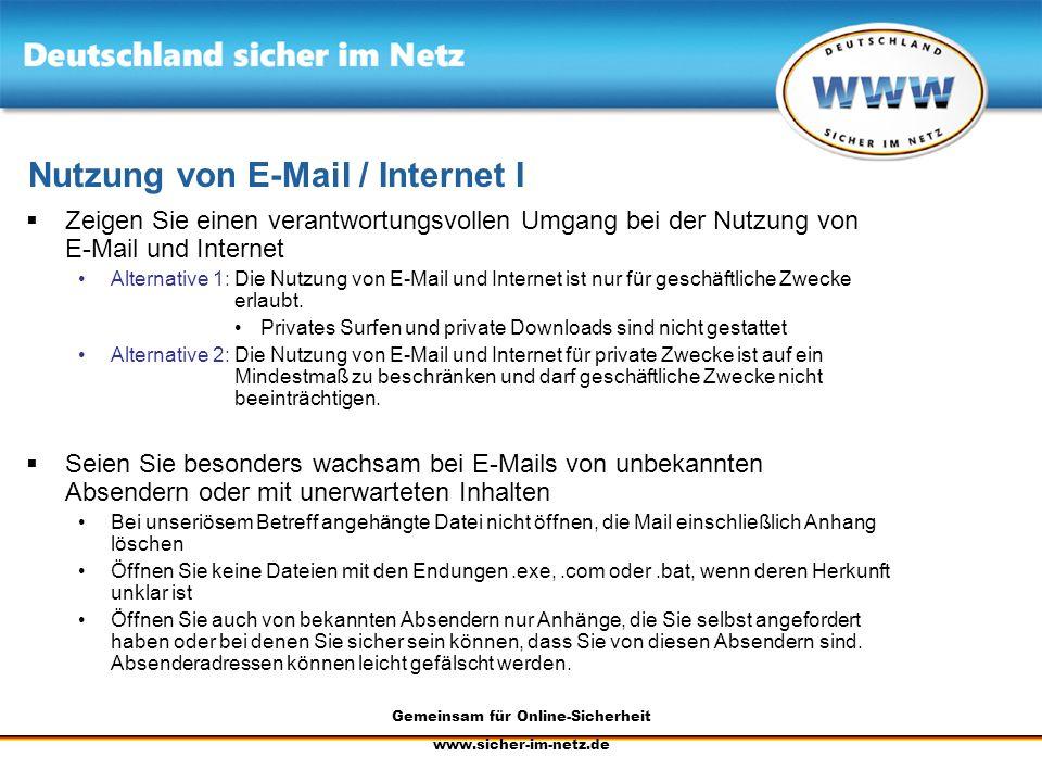 Nutzung von E-Mail / Internet I