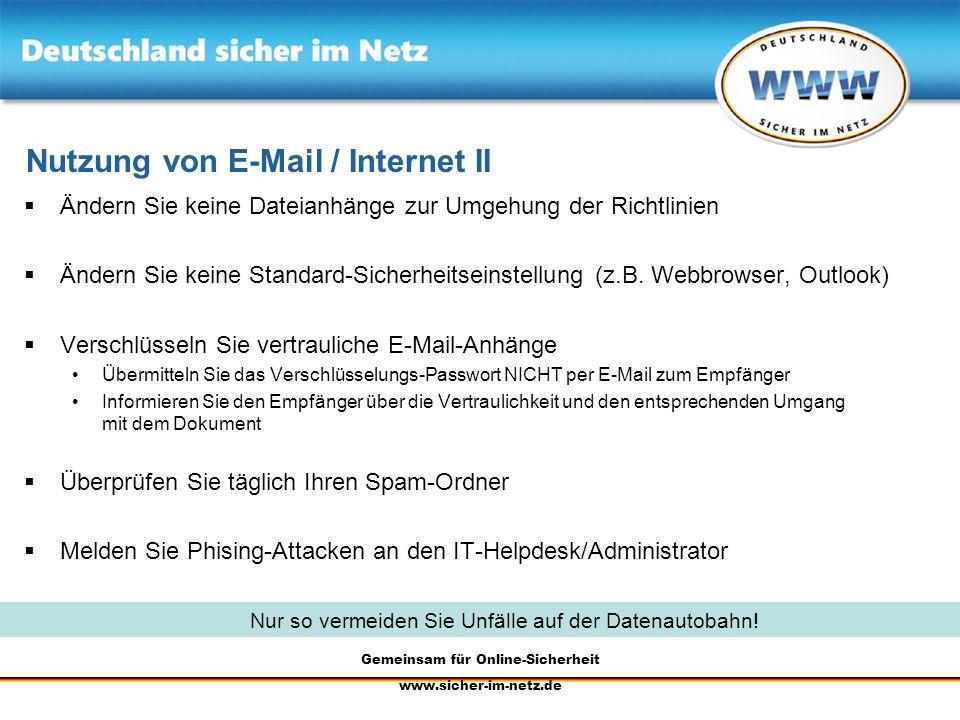 Nutzung von E-Mail / Internet II