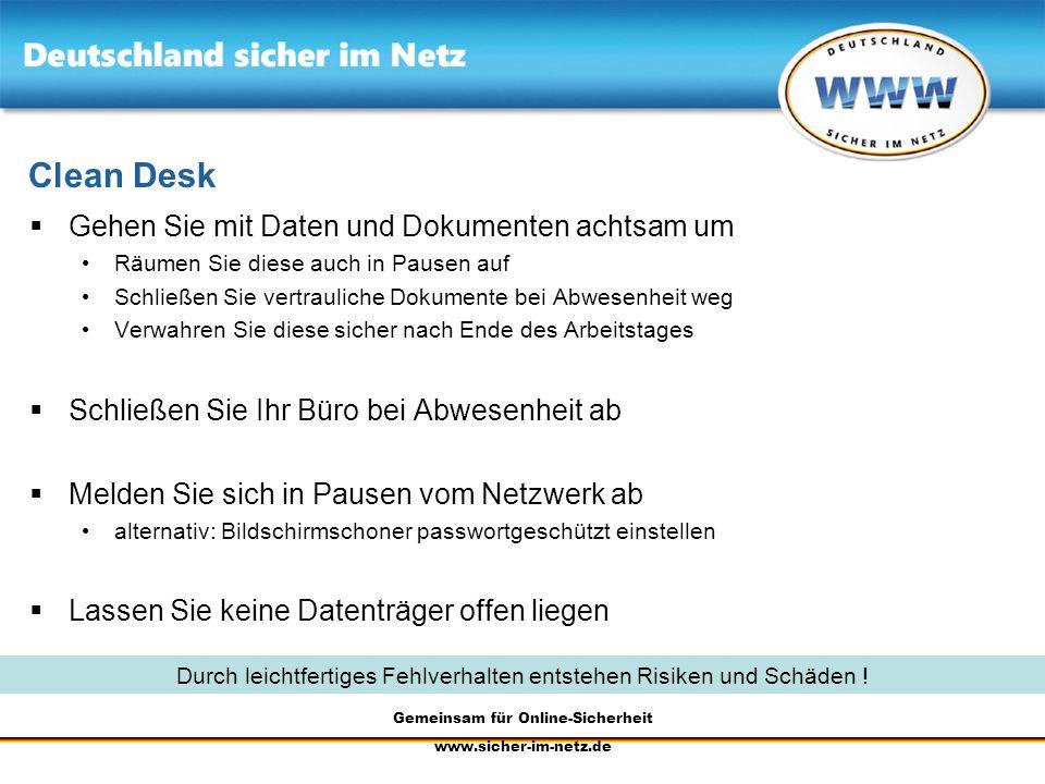 Clean Desk Gehen Sie mit Daten und Dokumenten achtsam um