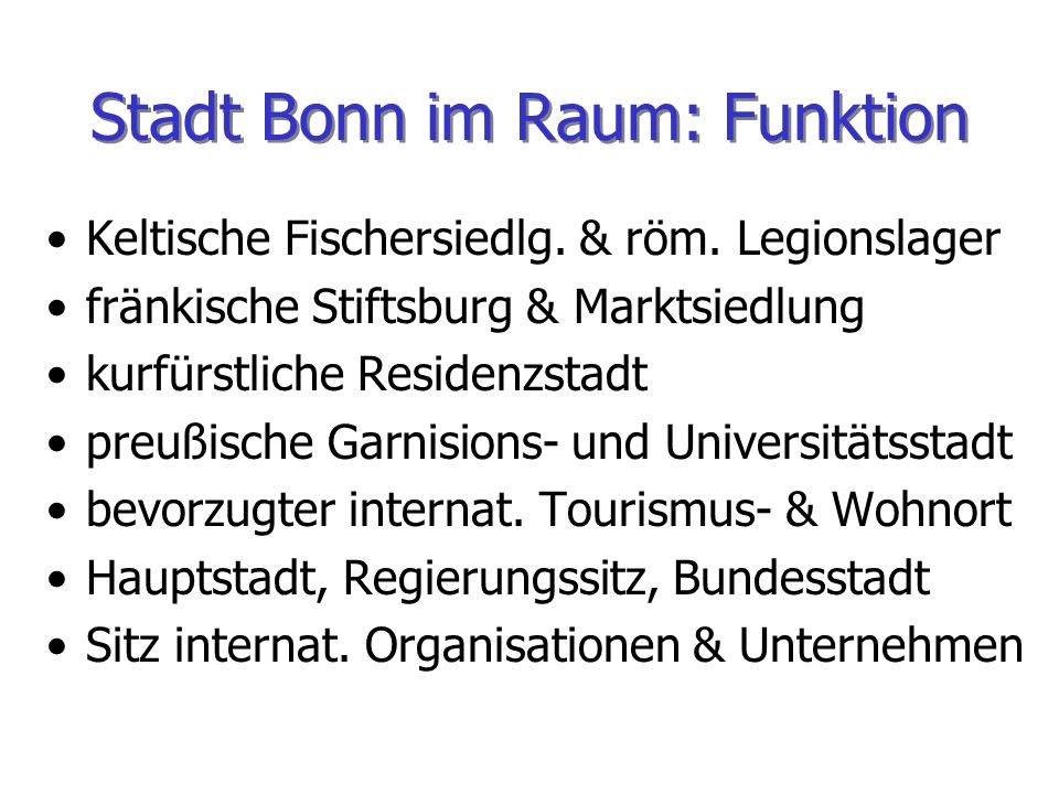 Stadt Bonn im Raum: Funktion