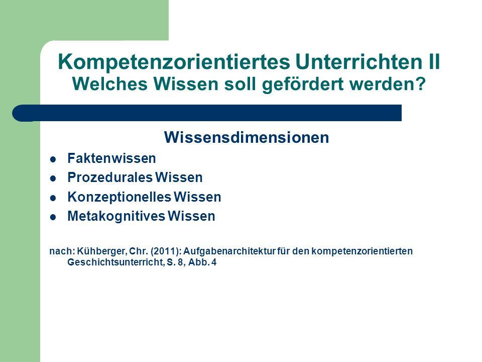 Kompetenzorientiertes Unterrichten II Welches Wissen soll gefördert werden