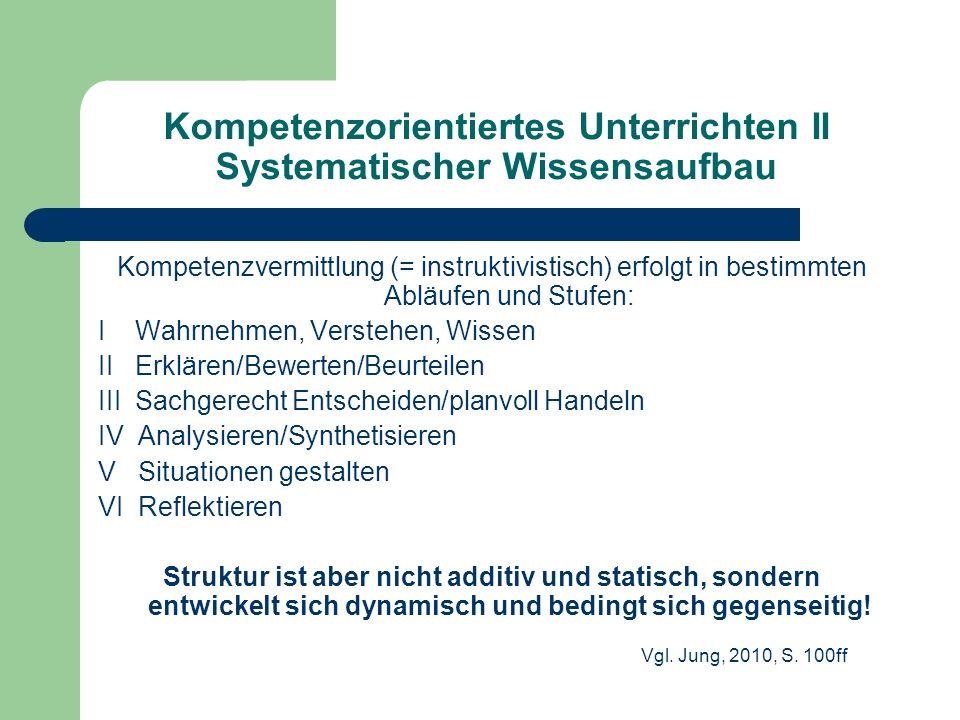 Kompetenzorientiertes Unterrichten II Systematischer Wissensaufbau