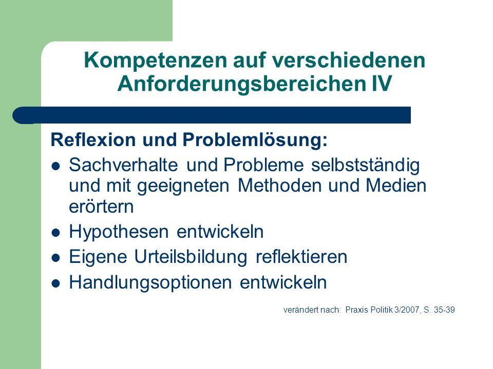Kompetenzen auf verschiedenen Anforderungsbereichen IV