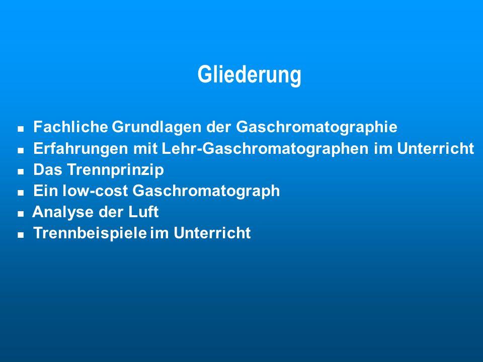 Gliederung Fachliche Grundlagen der Gaschromatographie