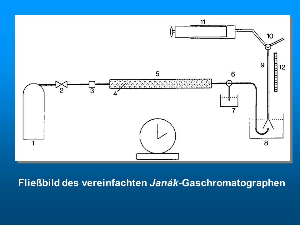 Fließbild des vereinfachten Janák-Gaschromatographen