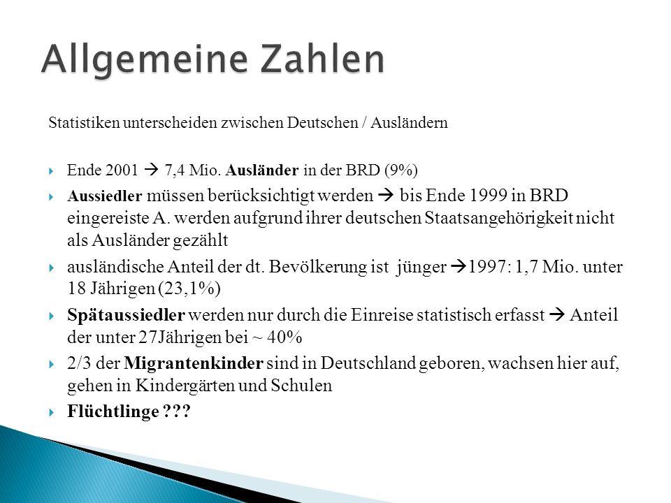 Allgemeine Zahlen Statistiken unterscheiden zwischen Deutschen / Ausländern. Ende 2001  7,4 Mio. Ausländer in der BRD (9%)