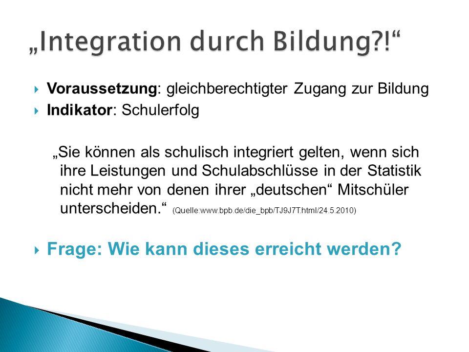 """Integration durch Bildung !"