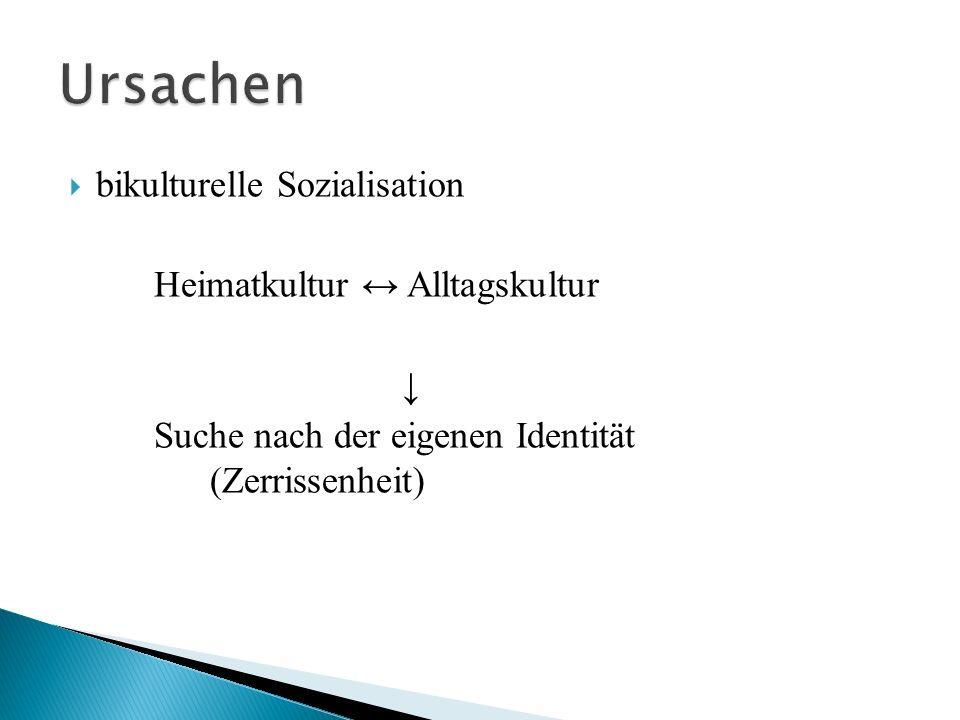 Ursachen bikulturelle Sozialisation Heimatkultur ↔ Alltagskultur ↓
