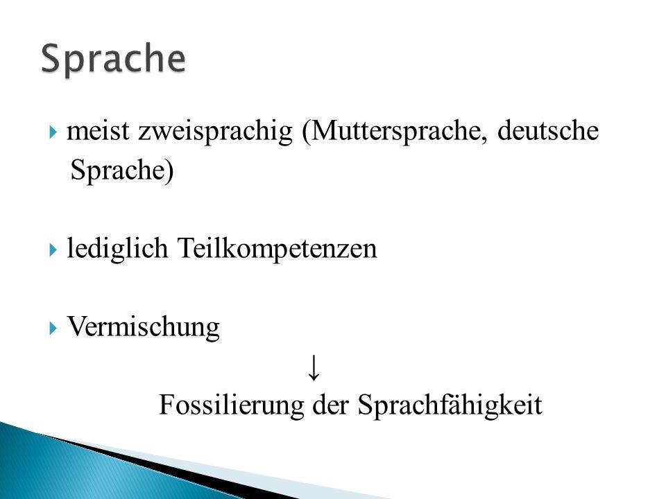 Sprache meist zweisprachig (Muttersprache, deutsche Sprache)