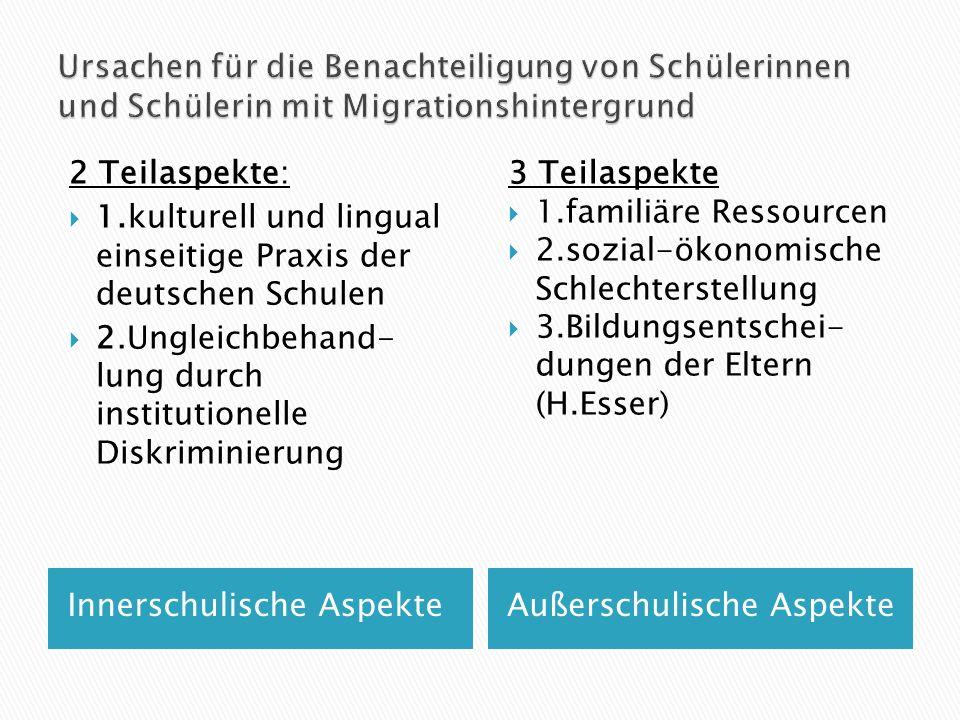 Ursachen für die Benachteiligung von Schülerinnen und Schülerin mit Migrationshintergrund