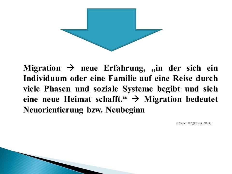 """Migration  neue Erfahrung, """"in der sich ein Individuum oder eine Familie auf eine Reise durch viele Phasen und soziale Systeme begibt und sich eine neue Heimat schafft.  Migration bedeutet Neuorientierung bzw. Neubeginn"""