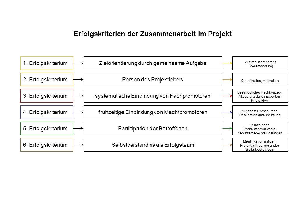 Erfolgskriterien der Zusammenarbeit im Projekt