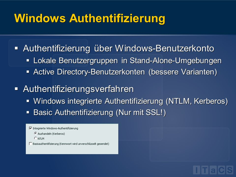 Windows Authentifizierung