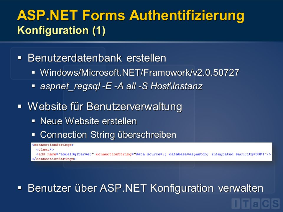 ASP.NET Forms Authentifizierung Konfiguration (1)