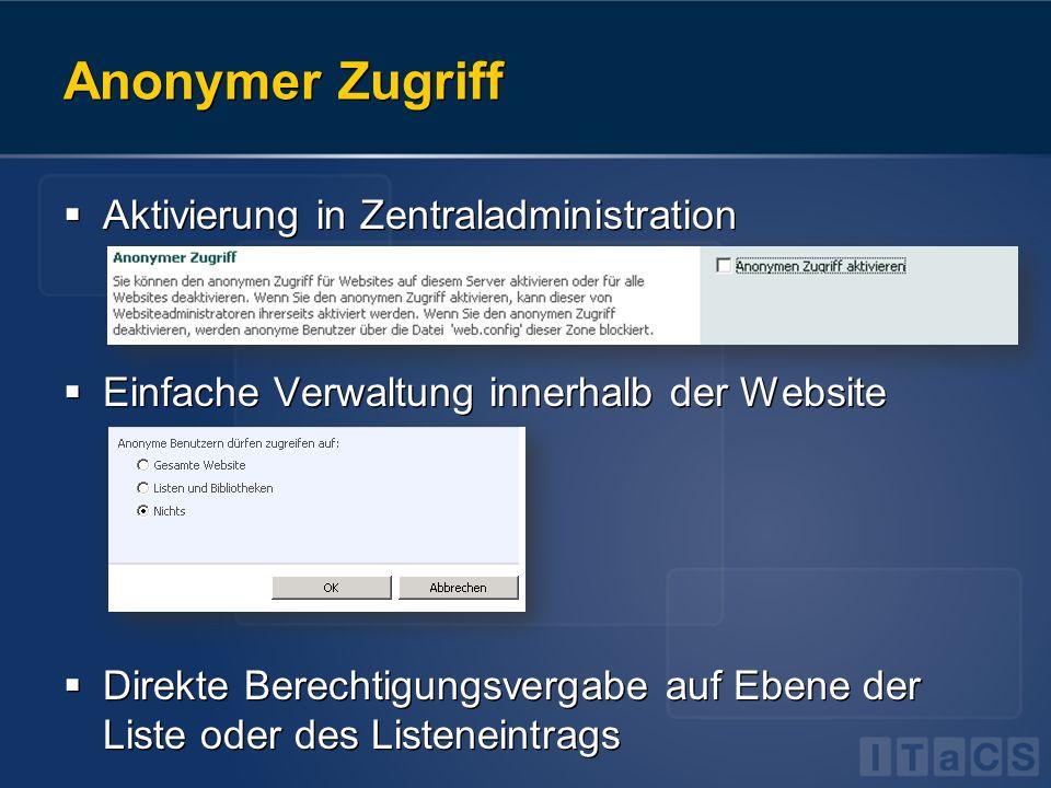 Anonymer Zugriff Aktivierung in Zentraladministration